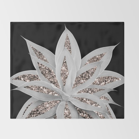 Gray Agave with Rose Gold Glitter #2 #shiny #tropical #decor #art #society6 by anitabellajantz