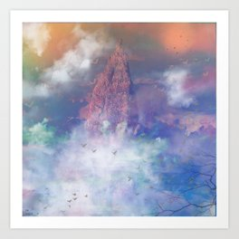 Towards the mount Olympus Art Print