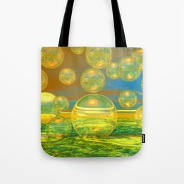 Golden Days, Abstract Yellow and Azure Tranquility Tote Bag