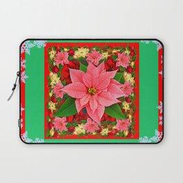 DECORATIVE SNOWFLAKES RED & PINK POINSETTIAS CHRISTMAS ART Laptop Sleeve