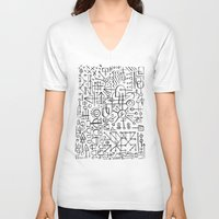 writing V-neck T-shirts featuring ALIEN WRITING by Matthew Taylor Wilson