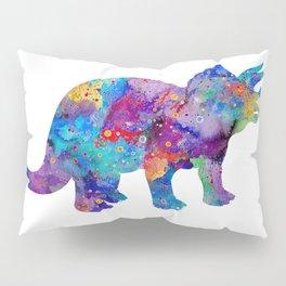 Dinosaur Triceratops Art Print Wild Animals Nursery Decor Kids Room Watercolor Pint Colorful Art Pillow Sham