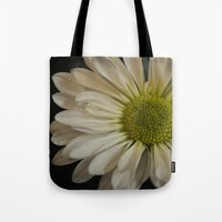 pushing daisies Tote Bags featuring Pushing Dasies by Mermaid by Design