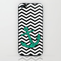 Mint Leopard Chevron Anchor iPhone & iPod Skin