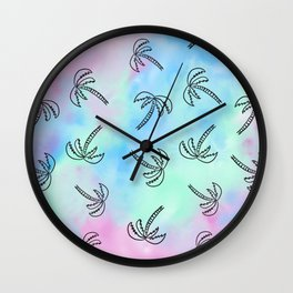 Palm Tree Watercolor Pattern Wall Clock