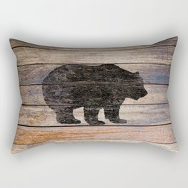 Rustic Bear Silhouette on Wood Country Art A231a Rectangular Pillow