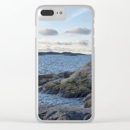 Craggy coastline by the ocean Clear iPhone Case