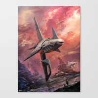spaceship Canvas Prints featuring Spaceship by Kirk Pesigan