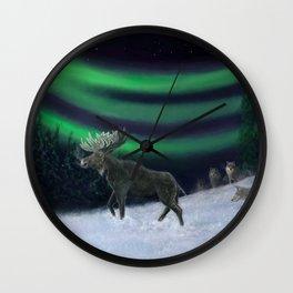 Northern Lights Moose Hunt Wall Clock