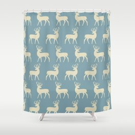 Mid Century Modern Deer Pattern Venetian Blue and Tan Shower Curtain