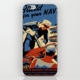 Vintage poster - Build for your Navy! iPhone Skin