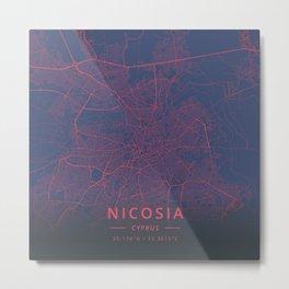 Nicosia, Cyprus - Neon Metal Print