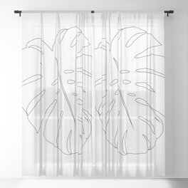 Minimal Monstera Leaf Line Art #1 #minimal #decor #art #society6 Sheer Curtain