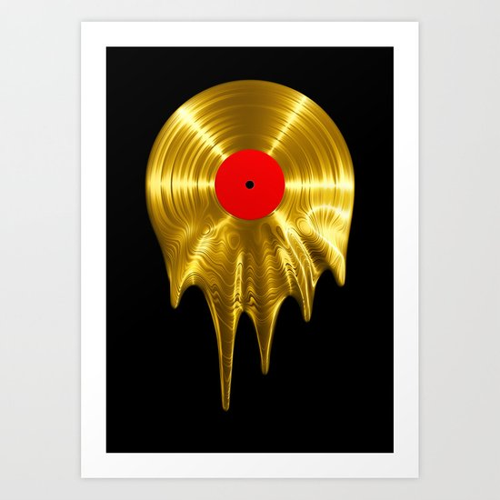 Melting vinyl GOLD / 3D render of gold vinyl record melting by grandeduc