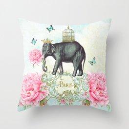 Paris Elephant Throw Pillow