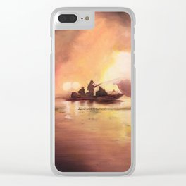 Marina Boat Fire - Fire Series Clear iPhone Case