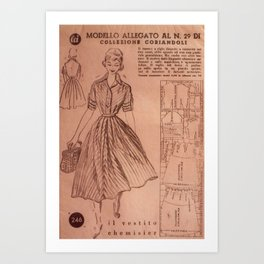 Vintage sewing pattern, 1950s  Art Print
