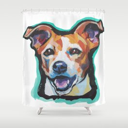 Fun Jack Russell Terrier Portrait bright colorful Dog  Pop Art by LEA Shower Curtain