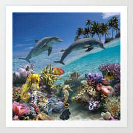 Coral Reef and Dolphins Art Print