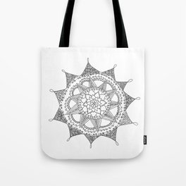 Black and White Circle Doodle Tote Bag