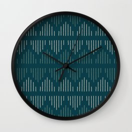 Minimalist Mudcloth 3 in Cream and Olive on Teal Wall Clock