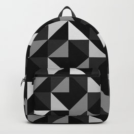 Mid Century Modern Half Square Triangles Black Gray Backpack