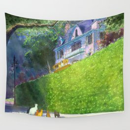 Cat Pilot on a Green Hedge Wall Tapestry