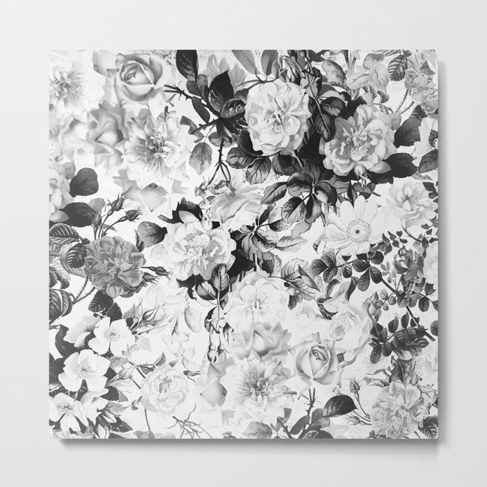 Black gray modern watercolor roses floral pattern Metal Print