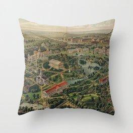 Vintage Nashville Centennial Park Map (1897) Throw Pillow