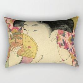 Japanese Art Print - Japanese Woman - Kushi Utamaro Rectangular Pillow