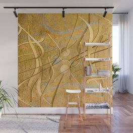 string theory. 2019. golden Wall Mural