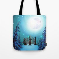 coven Tote Bags featuring Witch Coven by Annya Kai