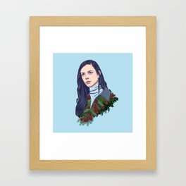 winter girl between pine cones and needles Framed Art Print
