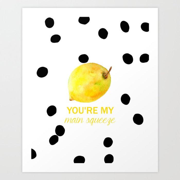 Kitchen Wall Art Black and White Polka Dot Watercolor Lemon Print ...