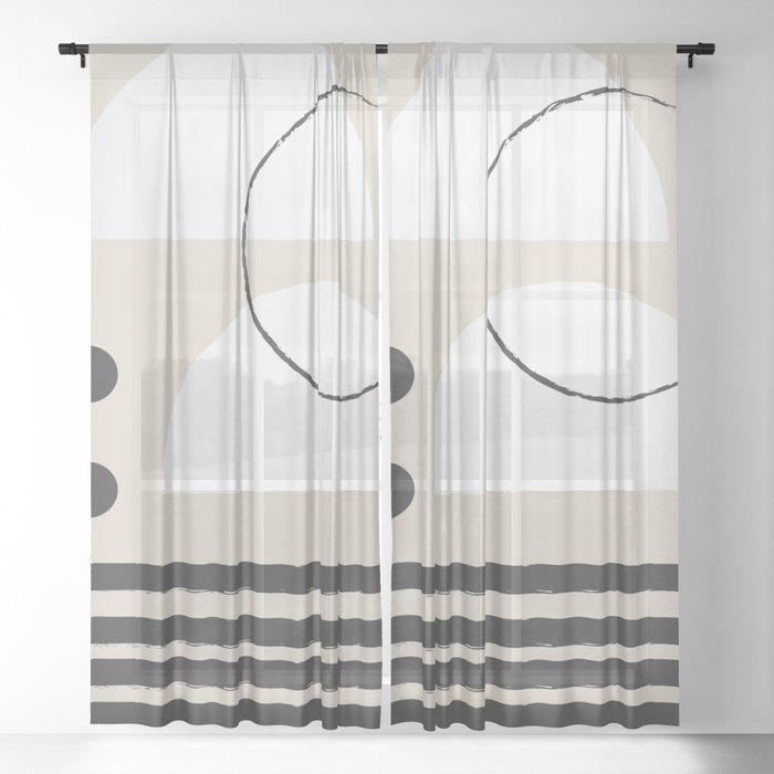 Abstract Modern Art Sheer Curtain