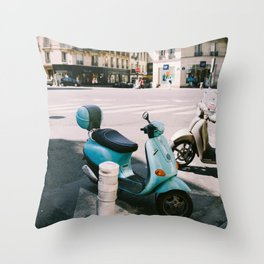 Scooter in Paris Throw Pillow