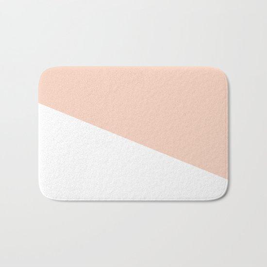 Geometric Blush Pink + White Bath Mat