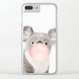 Funny koala with pink bubble gum Clear iPhone Case