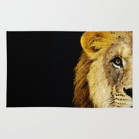 nfl Area & Throw Rugs featuring Lion Art - Face Off by Sharon Cummings