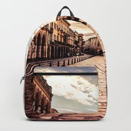 Sunset over square in Padova in Italy Backpack