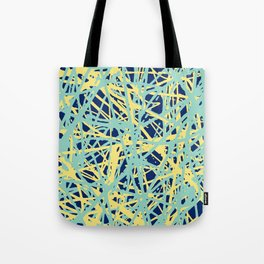 Daisy Scribble Navy, Mint and Lemon Tote Bag