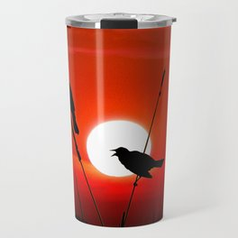 Blackbirds On Red Sunset. Travel Mug
