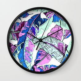 BANANA LEAF PALM PASTEL PINK AND BLUE Wall Clock