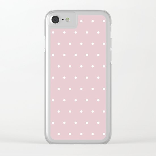 Polka dot dance on pink - White dots pattern Clear iPhone Case