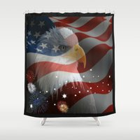 patriotic Shower Curtains featuring Patriotic America by Barrier _S_D