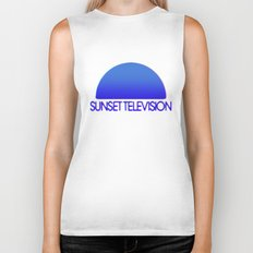 Sunset Television Logo Blue Biker Tank