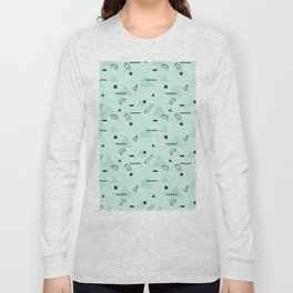 Abstract geometrical teal black 80s memphis pattern Long Sleeve T-shirt