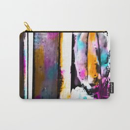 cactus with wooden background and colorful painting abstract in orange blue pink Carry-All Pouch