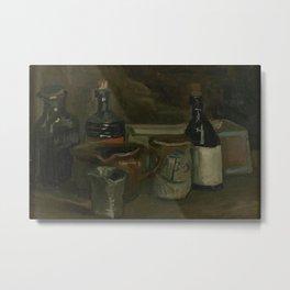 """Vincent van Gogh - Still life with Bottles and Earthenwear """"Stilleven met flessen en aardewerk"""" Metal Print"""