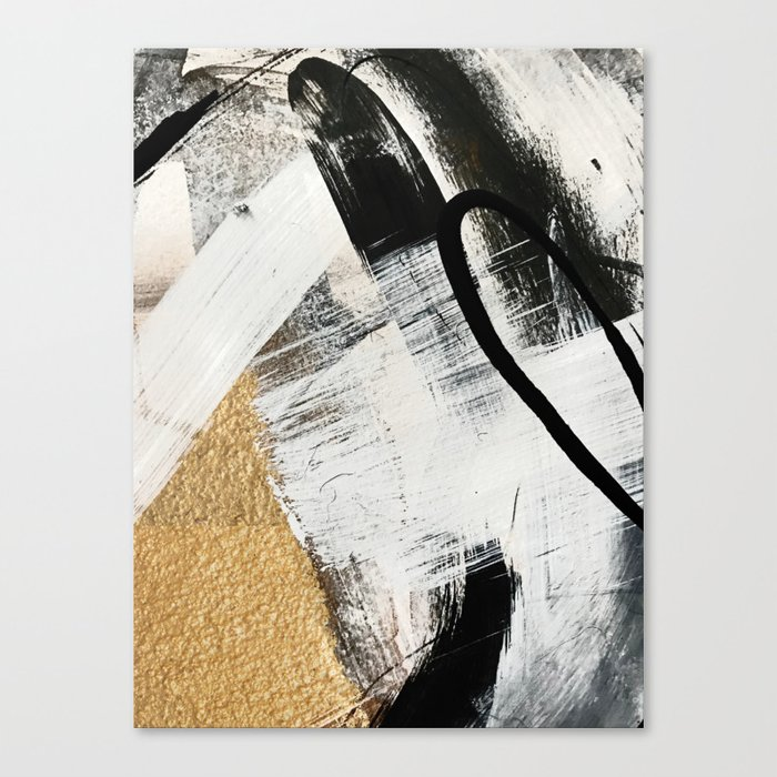 Armor [9]: a minimal abstract piece in black white and gold by Alyssa Hamilton Art Leinwanddruck
